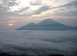 Sunrise view Mt. Agung from Mt. Batur