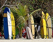 Kuta beach with rental surf boards