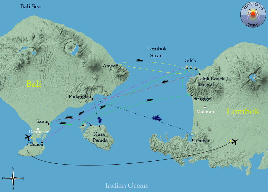 Routes between Bali and Lombok