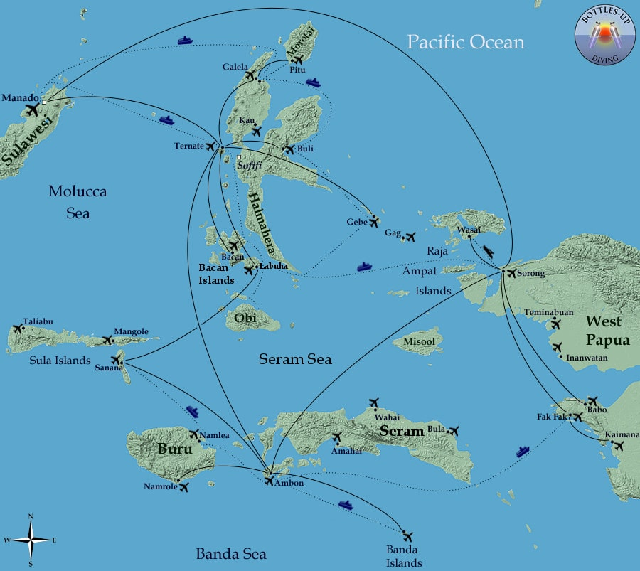 Routes in Maluku and west-Papua