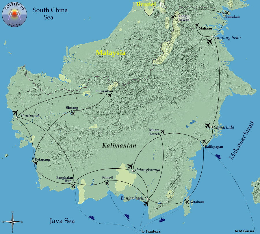 Routes around Kalimantan