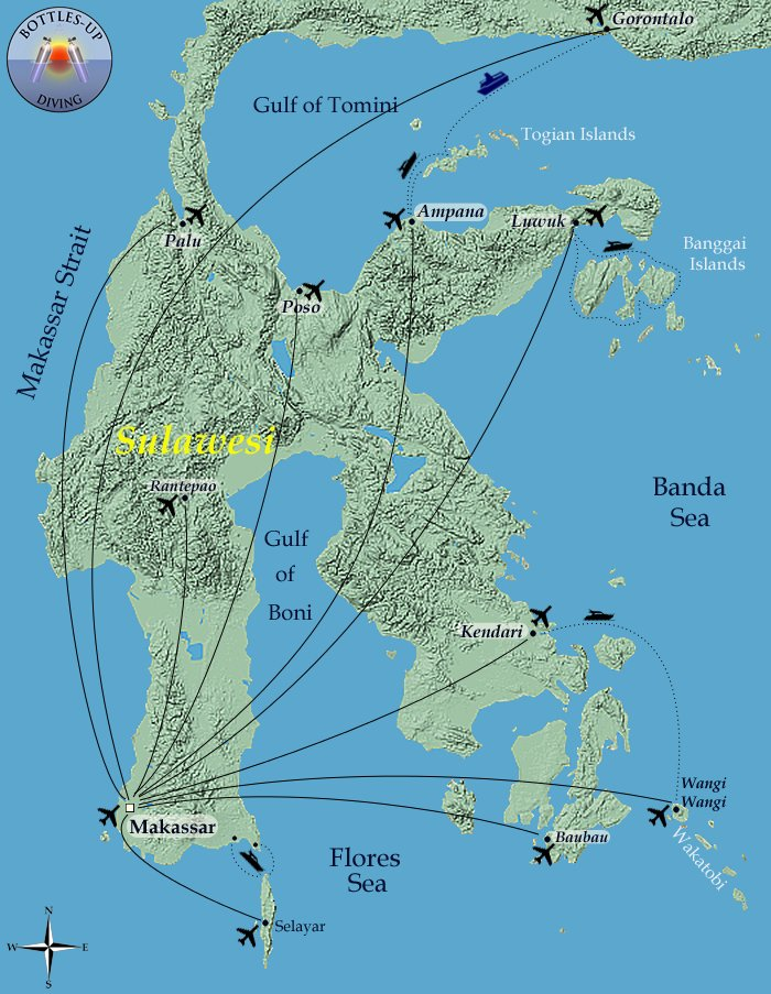 Routes in Central- and South Sulawesi