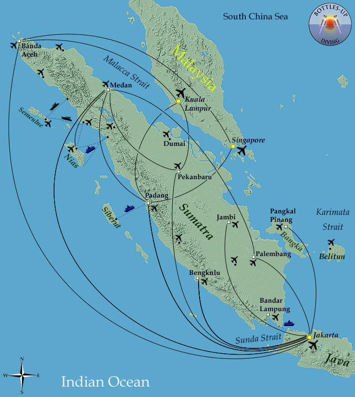 Routes around Sumatera